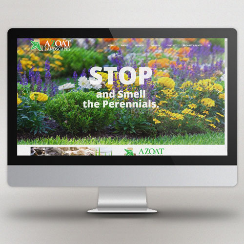 responsive landscaping website viewed on a full screen Mac