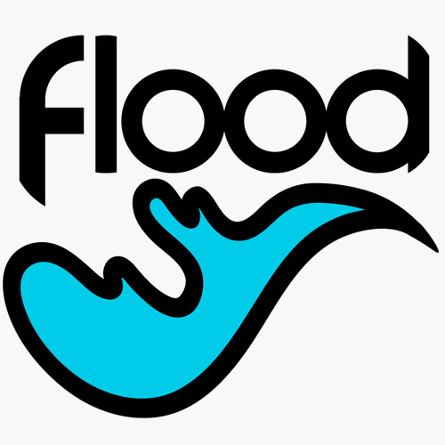 screenprinting logo - flood with a cyan wave