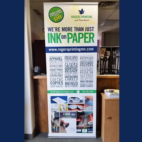 print shop banner stand