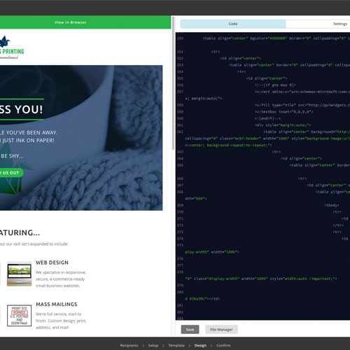 code and preview of newsletter design