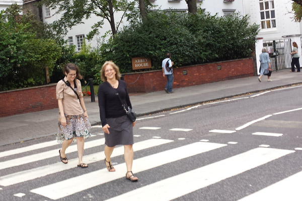 my mom and I walking Abbey Road