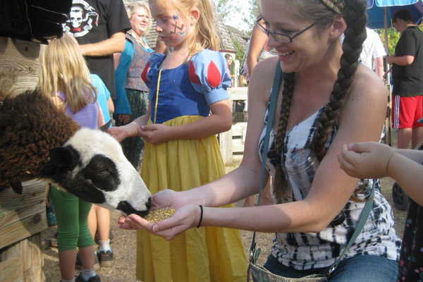 feeding the animals at the Ren Fest petting zoo