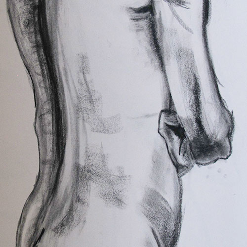 close up charcoal drawing of a man with arms folded