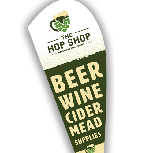 teardrop banner announcing beer, wine, cider, and mead supplies
