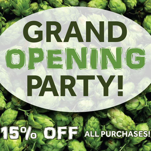 grand opening poster for hop shop beer supplies